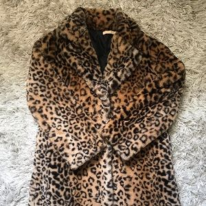 Cheetah print fur faux coat
